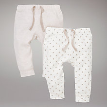 Buy John Lewis Baby Jersey Bottoms, Cream Online at johnlewis.com