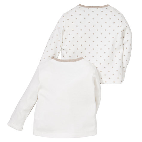 Buy John Lewis Baby Teddy Bear Tops, Pack of 2, Cream Online at johnlewis.com