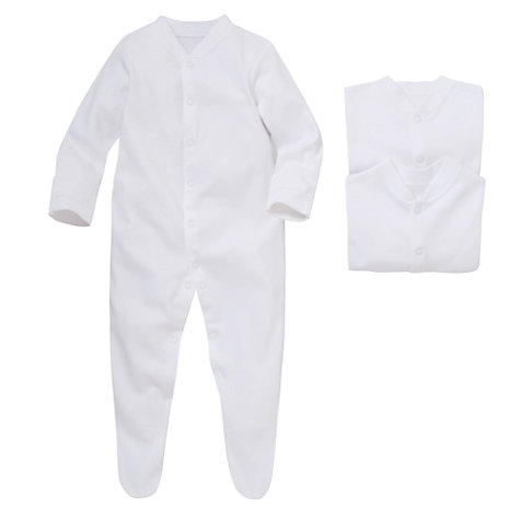 Buy John Lewis Baby Long Sleeved Sleepsuit, Pack of 3, White Online at johnlewis.com