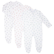 Buy John Lewis Baby Ditsy Floral Sleepsuits, Pack of 3, White/Multi Online at johnlewis.com