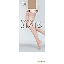 Buy John Lewis 15 Denier Stockings, Pack Of 3, Natural Tan Online at johnlewis.com