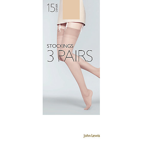 Buy John Lewis 15 Denier Stockings, Pack Of 3, Nude Online at johnlewis.com