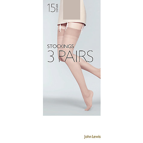 Buy John Lewis 15 Denier Sheer Stocking Tights, Pack Of 3, Pewter Online at johnlewis.com