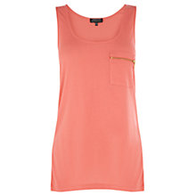 Buy Warehouse Zip Pocket Vest Top, Coral Online at johnlewis.com