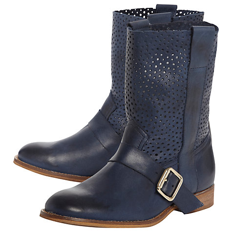 Buy Bertie Ronda Punch Hole Leather Ankle Strap Calf Boots Online at johnlewis.com