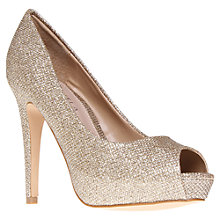 Buy Carvela Peep Toe Stiletto Occasion Shoes, Gold Online at johnlewis.com