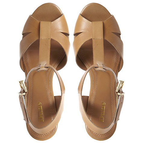 Buy Dune Giraffe EVA T-Bar Leather Cork Wedge Sandals Online at johnlewis.com