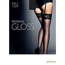 Buy John Lewis 15 Denier Gloss Stockings, Pack of 1, Black Online at johnlewis.com