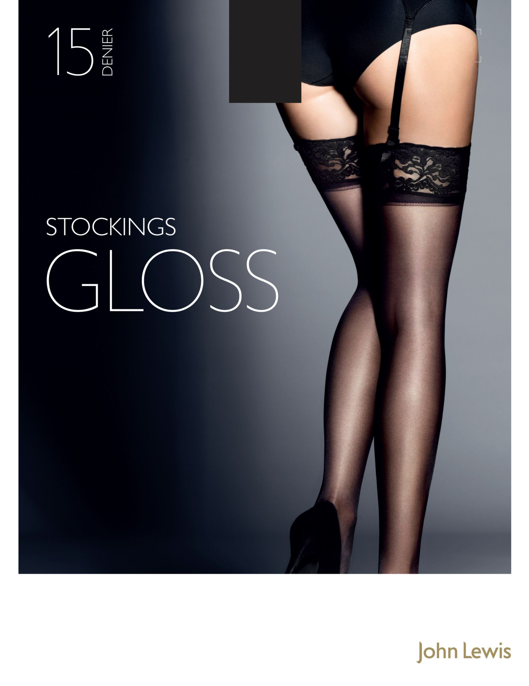 John Lewis 15 Denier Gloss Stockings, Pack of 1, Black