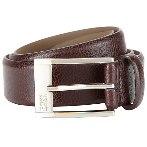 Buy BOSS Ellot Leather Belt, Brown Online at johnlewis.com