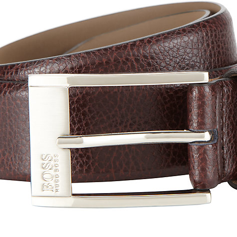 Buy Hugo Boss Ellot Leather Belt, Brown Online at johnlewis.com