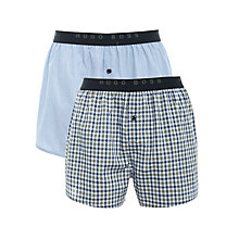 Buy Hugo Boss Plain and Check Boxers, Pack of 2 Online at johnlewis.com