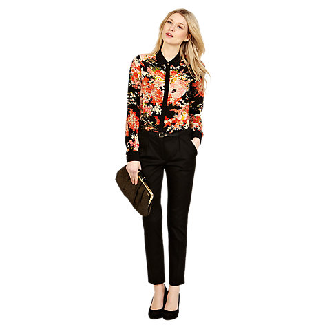 Buy Oasis Looped Sateen Slim Legged Trousers, Black Online at johnlewis.com