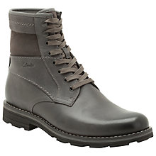 Buy Clarks Naylor Top Leather Lace Up Boots, Charcoal Online at johnlewis.com