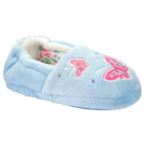 Buy John Lewis Girl Butterfly Slippers, Blue Online at johnlewis.com