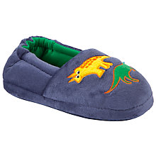 Buy John Lewis Boy Dinosaur Slippers, Blue Online at johnlewis.com