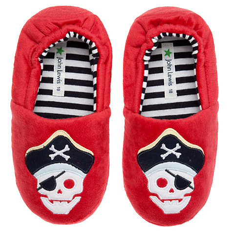 Buy John Lewis Boy Pirate Slippers, Red Online at johnlewis.com