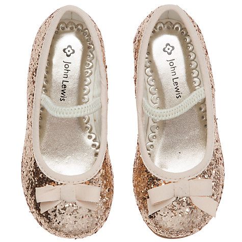 Buy John Lewis Girl Belle Glitter Pumps, Gold Online at johnlewis.com