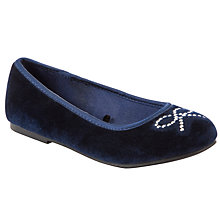 Buy John Lewis Girl Minnie Velvet Pumps, Navy Online at johnlewis.com
