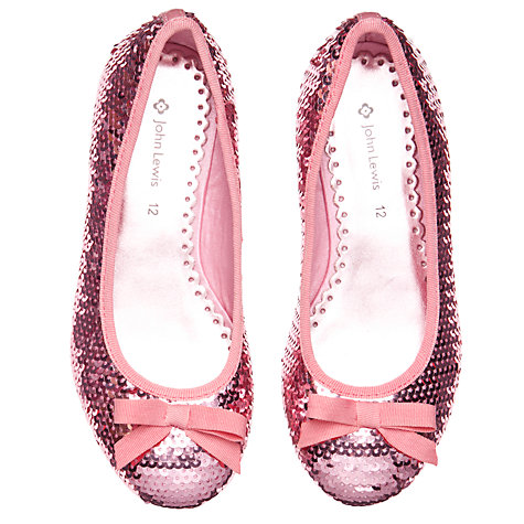 Buy John Lewis Girl Daisy Sequin Shoes, Pink Online at johnlewis.com