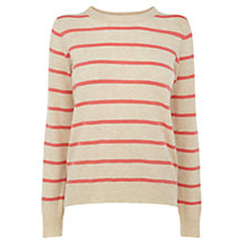 Buy Oasis Striped Zip Top, Mid Neutral Online at johnlewis.com