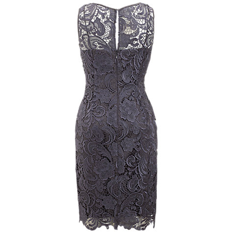 Buy Adrianna Papell Illusion Lace Dress, Charcoal Online at johnlewis.com