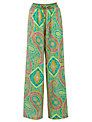 Lauren by Ralph Lauren Wide Printed Trousers, Green Multi