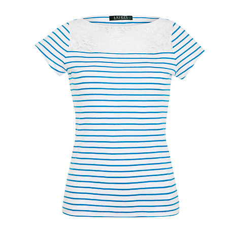 Buy Lauren by Ralph Lauren Crochet Neck Stripe Top, White/Crystal Turquoise Online at johnlewis.com