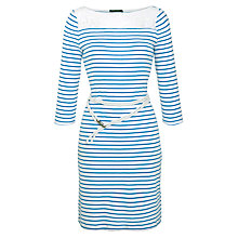 Buy Lauren by Ralph Lauren Striped Boat Neck Dress, White/Aegean Blue Online at johnlewis.com