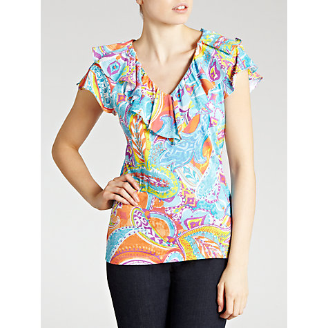 Buy Lauren by Ralph Lauren Ruffle Neck Top, Multi Online at johnlewis.com
