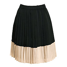Buy Weekend by MaxMara Pleated Colour Block Skirt, Black/Camel Online at johnlewis.com