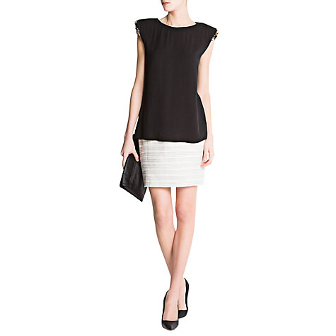 Buy Mango Shoulder Pad Crystal Detail Top Online at johnlewis.com