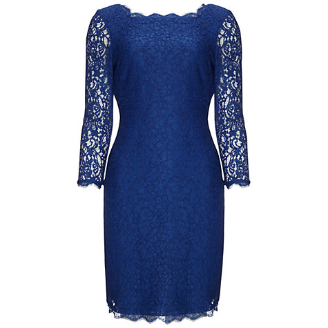 Buy Adrianna Papell Lace Sleeve Dress, Prussian Online at johnlewis.com