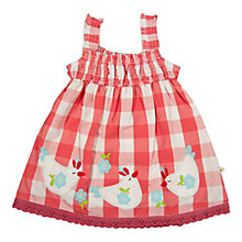 Buy Frugi Baby Henny Check Organic Cotton Pinafore Dress, Coral Online at johnlewis.com