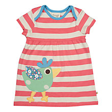Buy Frugi Baby Striped Short Sleeved Organic Cotton Tunic Dress, Coral/Cream Online at johnlewis.com