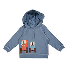 Buy Frugi Baby Vintage Tractor Organic Cotton Hoodie, Blue Online at johnlewis.com