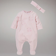 Buy Emile et Rose Hand Embroidered Sleepsuit with Headband and Bunny Online at johnlewis.com