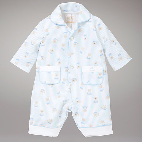 Buy Emile et Rose Bear Stripe Pyjamas with Teddy, Blue Online at johnlewis.com