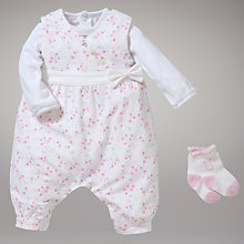 Buy Emil et Rose Ditsy Floral Dungaree and Bodysuit Set, Pink Online at johnlewis.com