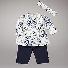 Buy Emile et Rose Floral Top and Trousers with Headband, Navy Online at johnlewis.com