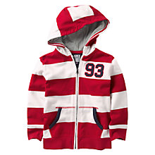 Buy Crew Clothing Boys' Grant Striped Hoodie, Red/White Online at johnlewis.com