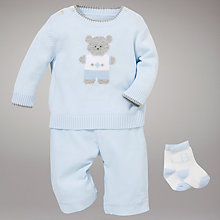 Buy Emile et Rose Teddy Jumper and Corduroy Trousers with Socks, Baby Blue Online at johnlewis.com