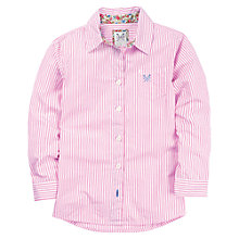 Buy Crew Clothing Girls' Chrissie Striped Long Sleeved Shirt, Pink/White Online at johnlewis.com