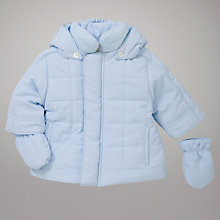 Buy Emile et Rose Wadded Hooded Coat with Mittens, Blue Online at johnlewis.com