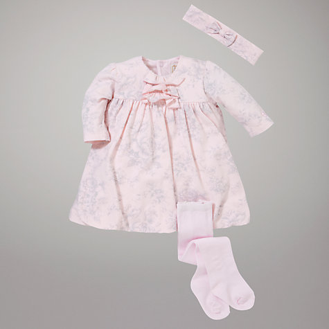 Buy Emile et Rose Floral Ruffle Front Dress with Tights, Pink Online at johnlewis.com