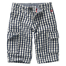 Buy Crew Clothing Boys' Dunstan Checked Shorts, Navy/White Online at johnlewis.com
