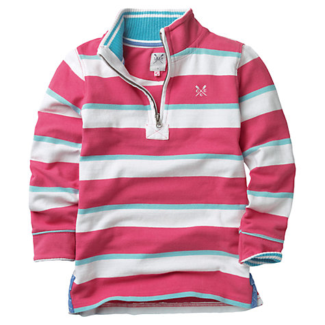 Buy Crew Clothing Girls' Rosaline Pique Fleece, Pink/White Online at johnlewis.com