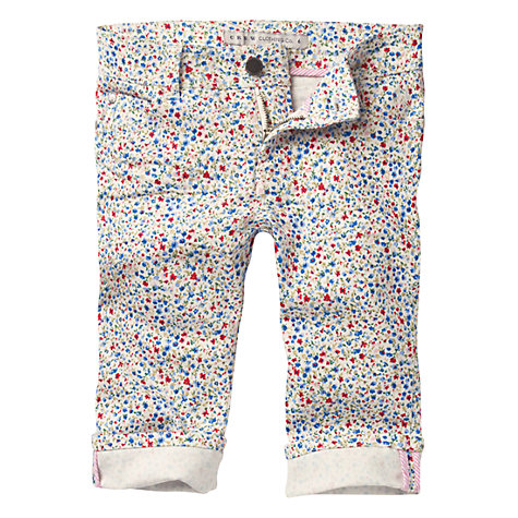 Buy Crew Clothing Girls' Marnie Floral Capri Trousers, Cream/Multi Online at johnlewis.com