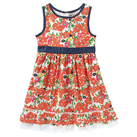 Buy Crew Clothing Girls' Kirsten Floral Dress, Orange Online at johnlewis.com