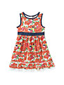 Crew Clothing Girls' Kirsten Floral Dress, Orange